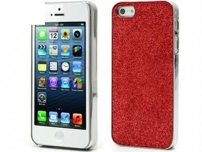 PVC ПРОТЕКТОР ЗА iPhone 5 С БРОКАТ - RED