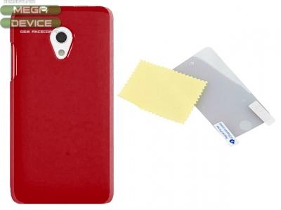PVC ГРЪБ + СКРИЙН ПРОТЕКТОР ЗА HTC DESIRE 700 dual SIM - RED