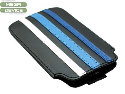 КОЖЕН КАЛЪФ ЗА iPhone 4G / 4GS - BLACK / BLUE STRIPES