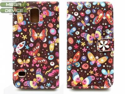 КАЛЪФ ТЕФТЕР ТИП ПОРТМОНЕ С ПЕПЕРУДКИ ЗА SAMSUNG G900H G900F GALAXY S5 - Butterflies