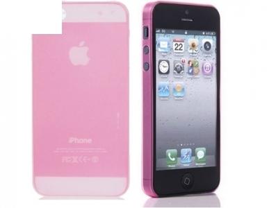 УЛТРА ТЪНЪК МАТИРАН ПРОЗИРАЩ СИЛИКОНОВ ПРОТЕКТОР ЗА iPhone 5 / 5S - Pink