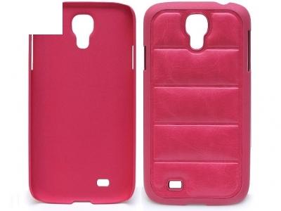 PVC ПРОТЕКТОР С КОЖЕНА ТАПИЦЕРИЯ ЗА SAMSUNG i9500 GALAXY S4 - Pink
