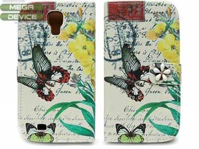 КАЛЪФ ТЕФТЕР ТИП ПОРТМОНЕ С ПЕПЕРУДИ ЗА SAMSUNG i9500 GALAXY S4 - Butterfly