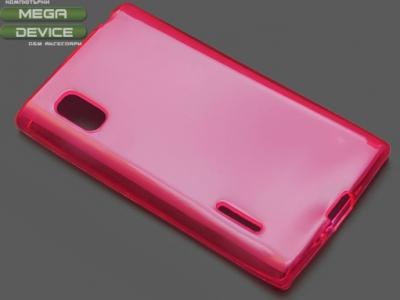 ПРОЗИРАЩ СИЛИКОНОВ ПРОТЕКТОР ЗА LG L5 E610 - Pink Transparent