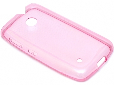УЛТРА ТЪНЪК ПРОЗРАЧЕН СИЛИКОНОВ ПРОТЕКТОР ЗА NOKIA LUMIA 530 RM-1017 / DUAL RM-1019 - Pink Transparent