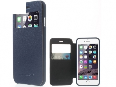 УЛТРА ТЪНЪК КАЛЪФ ТЕФТЕР Mercury WOW Bumper View ЗА iPhone 6 Plus 5.5-inch - Dark Blue