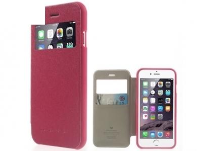 УЛТРА ТЪНЪК КАЛЪФ ТЕФТЕР Mercury WOW Bumper View ЗА iPhone 6 Plus 5.5-inch - Dark Pink