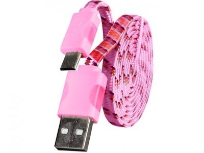 USB - micro USB PC Cable с LED светлини - Pink
