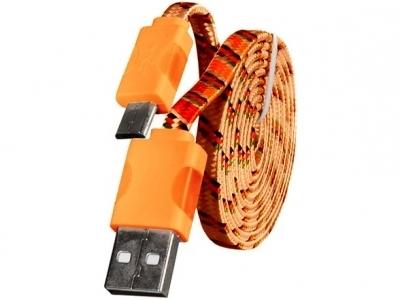 USB - micro USB PC Cable с LED светлини - Orange
