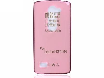 УЛТРА ТЪНЪК ПРОЗРАЧЕН СИЛИКОНОВ ПРОТЕКТОР ЗА LG LEON H340N - Pink Transparent