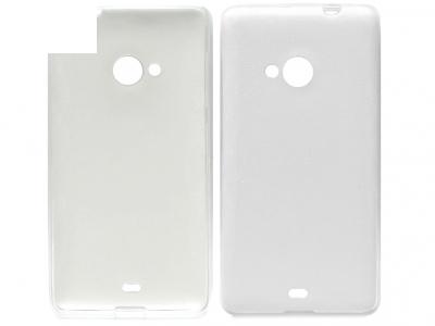 ULTRA PROTECTOR ΛΕΠΤΟ SILICONЕ ΜΕ δέρμα πίσω για το Microsoft LUMIA 535/535 Dual SIM RM-1090/1092 - Λευκή