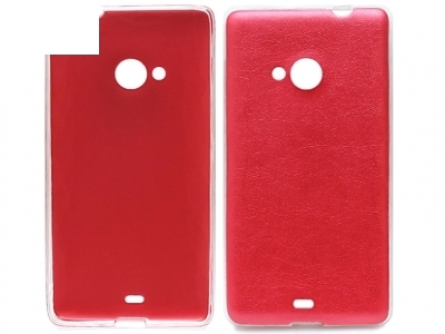 Ultra Thin SILICONЕ ΠΡΟΣΤΑΤΗ ΜΕ δέρμα πίσω για το Microsoft LUMIA 535/535 Dual SIM RM-1090/1092 - Κόκκινο