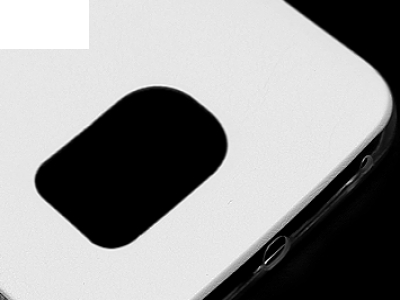 УЛТРА ТЪНЪК СИЛИКОНОВ ПРОТЕКТОР С КОЖЕН ГРЪБ ЗА SAMSUNG GALAXY S6 EDGE 2015 SM-G925F, Бял
