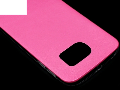 УЛТРА ТЪНЪК СИЛИКОНОВ ПРОТЕКТОР С КОЖЕН ГРЪБ ЗА SAMSUNG GALAXY S6 EDGE SM-G925F - Pink