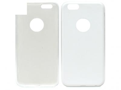 УЛТРА ТЪНЪК СИЛИКОНОВ ПРОТЕКТОР С КОЖЕН ГРЪБ ЗА iPhone 6 / 6s 4.7-inch - White