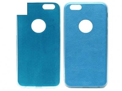 УЛТРА ТЪНЪК СИЛИКОНОВ ПРОТЕКТОР С КОЖЕН ГРЪБ ЗА iPhone 6 / 6s 4.7-inch - Blue