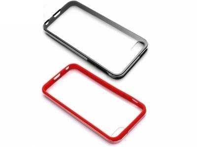 ПРОЗРАЧЕН ПРОТЕКТОР ОТ 3 МОДУЛА ЗА iPhone 5 / 5S - Black / Red
