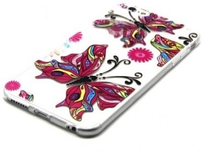 ПРОЗРАЧЕН СИЛИКОНОВ ПРОТЕКТОР ЗА iPhone 6 Plus / 6s Plus 5.5-inch - Colored Butterflies