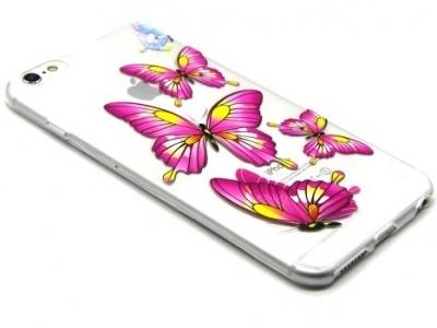 ПРОЗРАЧЕН СИЛИКОНОВ ПРОТЕКТОР ЗА iPhone 6 Plus / 6s Plus 5.5-inch - Graphic Rose Butterflies