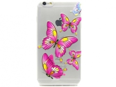TRANSPARENT SILICON PROTECTOR FOR iPhone 6 Plus / 6s Plus 5.5-inch - Graphic Rose Butterflies
