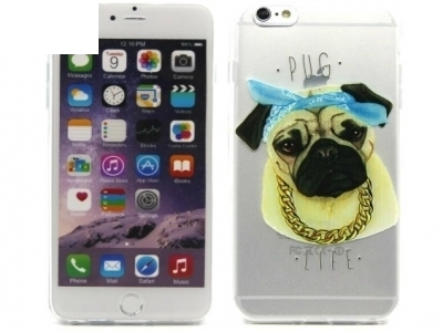 TRANSPARENT SILICON PROTECTOR FOR iPhone 6 Plus / 6s Plus 5.5-inch - Pug Wearing Blue Headband