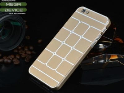 PVC ПРОТЕКТОР С МЕТАЛЕН ГРЪБ Grid Metal ЗА iPhone 6 / 6s 4.7-inch - Gold