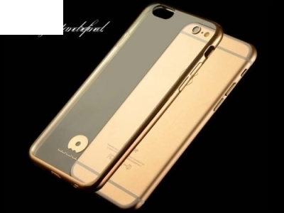 JLW TRANSPARENT SILICONЕ BACK WITH FRAME FOR iPhone 6 Plus / 6s Plus 5.5-inch - Gold