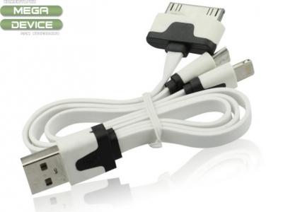 USB КАБЕЛ 3 in 1 - micro USB / iPad, iPad 2 / iPad 4 Air, Mini 1,2,3 - White / Black