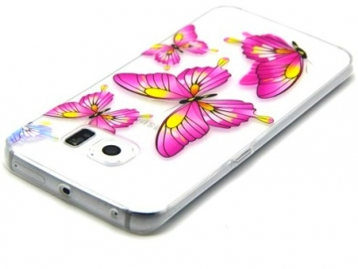 ПРОЗРАЧЕН СИЛИКОНОВ ПРОТЕКТОР ЗА SAMSUNG GALAXY S6 EDGE 2015 SM-G925F - Pretty Rose Butterflies
