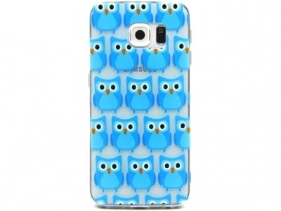 ПРОЗРАЧЕН СИЛИКОНОВ ПРОТЕКТОР ЗА SAMSUNG GALAXY S6 EDGE SM-G925F - Cute Blue Owls