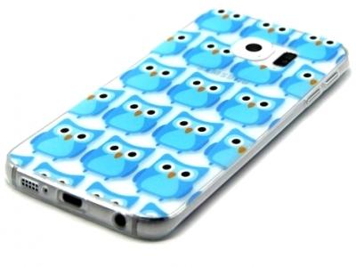 ПРОЗРАЧЕН СИЛИКОНОВ ПРОТЕКТОР ЗА SAMSUNG GALAXY S6 EDGE 2015 SM-G925F - Cute Blue Owls