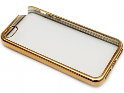 ПРОЗРАЧЕН СИЛИКОНОВ ПРОТЕКТОР С ЛАЙСНА ЗА iPhone 5 / 5S - Gold