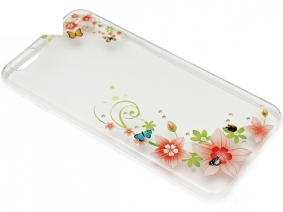 ULTRA THIN TRANSPARENT SILICONЕ BACK FOR iPhone 6 Plus 5.5-inch - Flowers