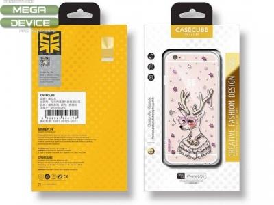 УЛТРА ТЪНЪК ПРОЗРАЧЕН СИЛИКОНОВ ПРОТЕКТОР С КАМЪНИ CASECUBE ЗА iPhone 6 4.7-inch - Deer