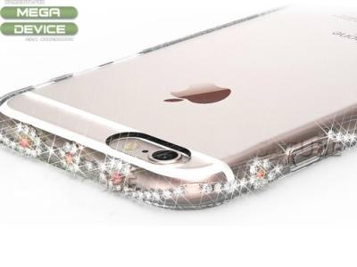 ПРОЗРАЧЕН СИЛИКОНОВ ПРОТЕКТОР С КАМЪНИ CASECUBE ЗА iPhone 6 4.7-inch - Rose