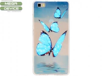 УЛТРА ТЪНЪК ПРОЗРАЧЕН СИЛИКОНОВ ПРОТЕКТОР ЗА HUAWEI P8 LITE - Blue Butterflies