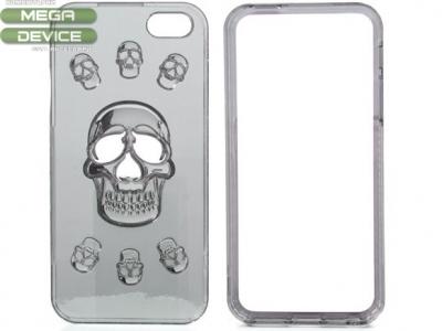 ХИБРИДЕН ПРОТЕКТОР 3D Skull ЗА iPhone 5 / 5s / SE - Silver