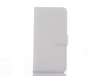 Litchi Skin Leather Wallet Cover for HTC One M9 Plus - White