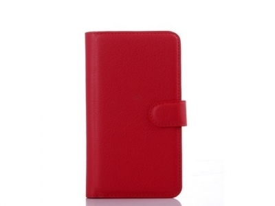 Litchi Skin Wallet Leather Stand Cover for HTC One M9 Plus - Red