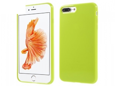 Glossy TPU Gel Back Protector Case for iPhone 7 Plus - Yellowgreen