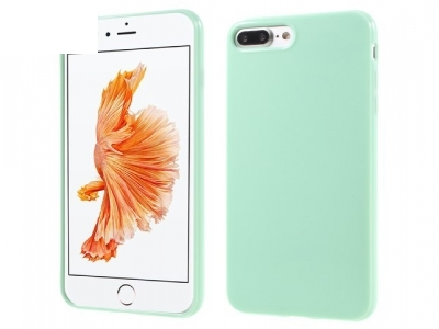 Glossy TPU Gel Back Protector Cover for iPhone 7 Plus - Light Green
