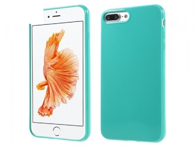 Glossy TPU Gel Back Protector Shell for iPhone 7 Plus - Cyan