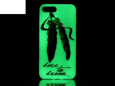 Luminous Glow TPU Gel Case for iPhone 7 Plus / 8 Plus - Feathers and Dare to Dream