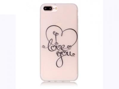 Флуоресциращ калъф за iPhone 7 Plus / 8 Plus - Текстура - I Love You