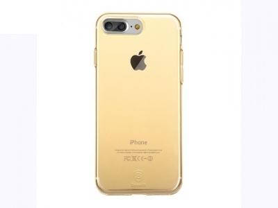 Ултра тънък силиконов протектор за iPhone 7 Plus / 8 Plus - Прозрачен  - Злато