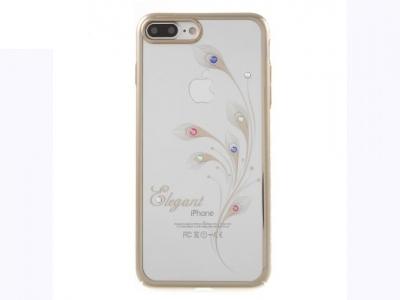 Ултра тънък поликарбонатов протектор за  iPhone 7 Plus / 8 Plus - Текстура - Орхидея + камъни Сваровски