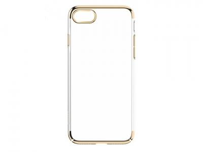 Ултра тънък силиконов протектор за iPhone 7 Plus / 8 Plus   Glitter Case Electroplating PC Shell - Злато