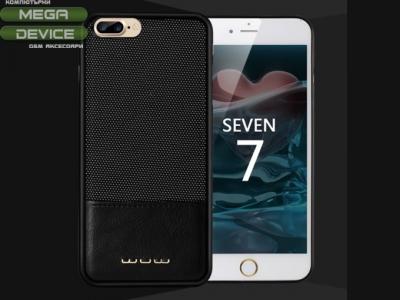 Стилен калъф от кожа и текстил за  iPhone 7 Plus / 8 Plus  Черен