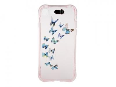Ултра тънък силиконов протектор с индикатор за входящо позвъняване за iPhone 7 4.7 inch - Текстура - Сини пеперуди