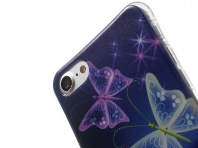 Ултра тънък силиконов протектор за iPhone 7 / 8- Текстура - Пеперуди